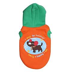 お買い得  犬用ウェア&アクセサリー-ネコ 犬 コート パーカー 犬用ウェア 花/植物 オレンジ グリーン コットン コスチューム ペット用 男性用 女性用 ファッション
