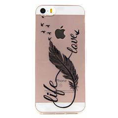 Недорогие Кейсы для iPhone 7-Кейс для Назначение IPhone 7 / iPhone 7 Plus / iPhone SE / 5s / 5 Кейс для iPhone 5 Прозрачный / С узором Кейс на заднюю панель  Перья Мягкий ТПУ для iPhone 7 Plus / iPhone 7 / iPhone SE / 5s