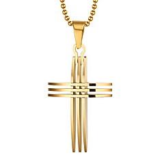 남성용 팬던트 목걸이 펜던트 Cross Shape 도금 골드 18K 금 십자가 개인 유럽의 의상 보석 보석류 제품 일상 캐쥬얼