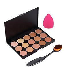 15 kolorów Krem kontur twarzy makijaż korektor palety + gąbka puff proszku szczotka do korektor fundamentowej różu