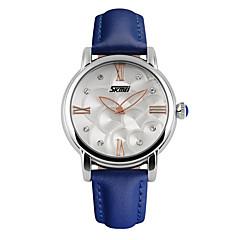 お買い得  メンズ腕時計-SKMEI 女性用 ファッションウォッチ / リストウォッチ 耐水 / 模造ダイヤモンド レザー バンド チャーム ブラック / 白 / ブルー