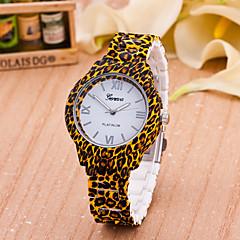 preiswerte Tolle Angebote auf Uhren-Damen Modeuhr Quartz Braun Analog damas Blume Leopard - Weiß Gelb