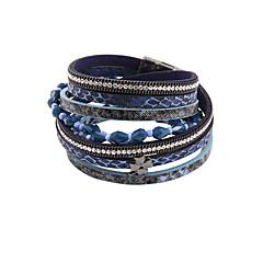 preiswerte Armbänder-Damen Wickelarmbänder Lederarmbänder - Leder, Strass, Diamantimitate Luxus, Retro, Böhmische Armbänder Blau Für Weihnachts Geschenke Party Alltag