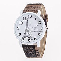 お買い得  大特価腕時計-女性用 クォーツ リストウォッチ カジュアルウォッチ レザー バンド 花型 エッフェル塔 ファッション 白 ブルー ブラウン カーキ