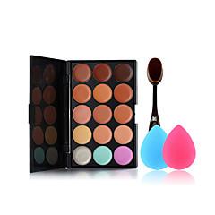 15 kleuren concealer palet van de make-up tandenborstel en kleine grootte make-up sponzen
