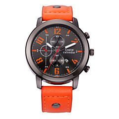 Men's Fashion Watch Quartz Calendar / date / day Casual Watch Leather Band Black Red Orange Brown