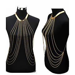 Dame Kropssmykker Mavekæde Harness halskæde Krops Kæde / mavekæde Sexet Europæisk Mode Bikini Guldbelagt Smykker Til Fest Daglig