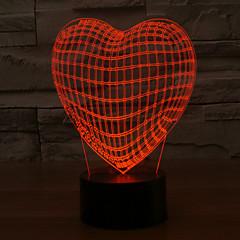 3d llevó la lámpara de la forma del corazón del amor vacaciones románticas luz colorida de la noche de cambio de color de luz nocturna