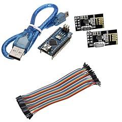 mini nano v3.0 atmega328p mikrokontroller fórumon w / usb kábel + nrf24l01, 2,4 GHz-es vezeték nélküli adó-vevő készlet Arduino