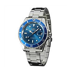 お買い得  大特価腕時計-WINNER 男性用 ファッションウォッチ ドレスウォッチ リストウォッチ 自動巻き 耐水 カレンダー 光る ステンレス バンド ハンズ ぜいたく シルバー - ブラック グリーン ブルー