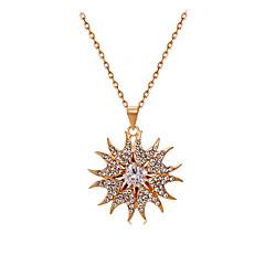 Herre Dame Halskædevedhæng Krystal Blomstformet Solsikke Krystal Kvadratisk Zirconium Legering Mode Yndig Smykker Til Bryllup Fest Daglig