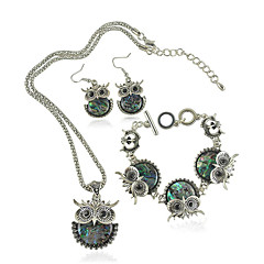 Χαμηλού Κόστους Γυναικεία Κοσμήματα-Σετ Κοσμημάτων Μοντέρνα Πεπαλαιωμένο χαριτωμένο στυλ Όστρακο Κουκουβάγια Πράσινο Κολιέ Cercei Βραχιόλι Για Καθημερινά Causal 1setΔώρα