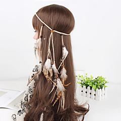 naisten yksinkertainen Peacock sulka helmiä riipus kutoa headbands 1 kpl