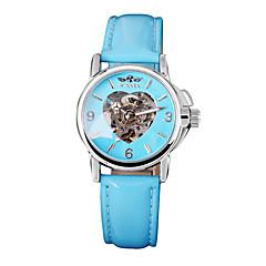 Γυναικεία Διάφανο Ρολόι Μηχανικό κούρδισμα Δέρμα Μπάντα Heart Shape Μπλε