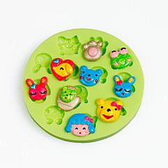 Animal de dibujos animados cara silicona chocolate molde fondant cupcake decoración sugarcraft herramientas polímero arcilla color al azar
