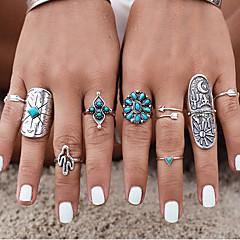 お買い得  指輪-女性用 ナックリリング - 銀メッキ, ターコイズ, 合金 オリジナル, ヴィンテージ, ボヘミアンスタイル 7 シルバー 用途 結婚式 / パーティー / 贈り物