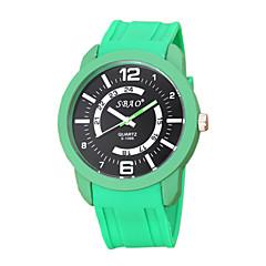 お買い得  メンズ腕時計-男性用 ファッションウォッチ クォーツ カジュアルウォッチ PU バンド ハンズ ストライプ 白 / ブルー / レッド - レッド グリーン ブルー 1年間 電池寿命
