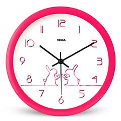 (Culoare aleatorii) 8 inch copii dormitor dragut ceas de perete ceas de desen animat circular mut ceas de cuarț