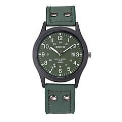 お買い得  メンズ腕時計-男性用 リストウォッチ クォーツ カレンダー レザー バンド ハンズ カジュアル ブラック / グリーン - グリーン ハンターグリーン カーキ色 1年間 電池寿命 / ステンレス / SSUO 377