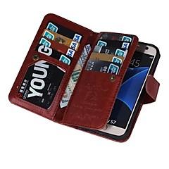 For Samsung Galaxy S7 Edge Pung Kortholder Flip Magnetisk Etui Heldækkende Etui Helfarve Kunstlæder for SamsungS7 edge plus S7 edge S7 S6