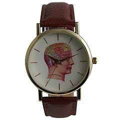 남성 패션 시계 방수 석영 PU 밴드 캐쥬얼 세계지도 패턴 브라운
