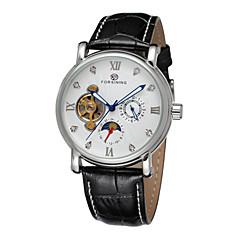 FORSINING Męskie Do sukni/garnituru zegarek mechaniczny Nakręcanie automatyczne Grawerowane Skóra Pasmo Czarny White Black