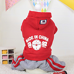 voordelige Hondenkleding & -accessoires-Hond Hoodies Hondenkleding Houd Warm Letter & Nummer Paars Rood Blauw Kostuum Voor huisdieren