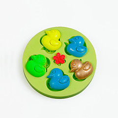 mini molde de goma del pato del silicón para el caramelo de chocolate que hace las decoraciones de la torta color al azar