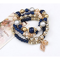 abordables Bijoux pour Femme-Femme Perlé Effets superposés Bracelets de rive - Forme de Feuille Rétro, Multicouches Bracelet Noir / Bleu / Rose Pour Décontracté