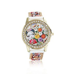 Women/Lady's Cute Special Beautiful Girl Case Acrylic Beads Leather Band Fashion Watch