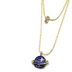 Недорогие Женские украшения-Жен. Ожерелья с подвесками Слоистые ожерелья - Очаровательный Галактика Двойной слой Синий Ожерелье Назначение Повседневные