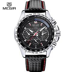 preiswerte Herrenuhren-MEGIR Sportuhr Armbanduhr Sender Kalender, Chronograph, Nachts leuchtend Weiß / Schwarz