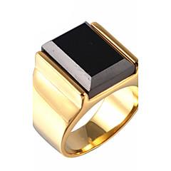 Férfi Vallomás gyűrűk Szintetikus zafír Drágakő Természetes fekete Régies (Vintage) Szintetikus drágakövek Titanium Acél Ékszerek