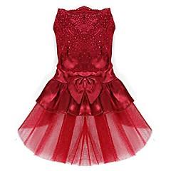 كلب الفساتين ملابس الكلاب جميل عيد ميلاد الزفاف ببيونة أحمر أزرق زهري ذهبي كوستيوم للحيوانات الأليفة
