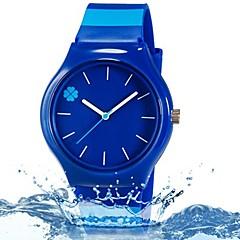 preiswerte Tolle Angebote auf Uhren-Quartz Armbanduhr Mehrfarbig Plastic Band Blätter Süßigkeit Freizeit Modisch Cool Streifen Blau