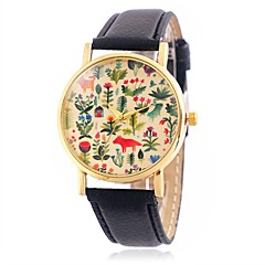 お買い得  大特価腕時計-CAGARNY 女性用 リストウォッチ クォーツ カジュアルウォッチ クール / レザー バンド ハンズ 花型 葉っぱ ヴィンテージ ブラック / レッド / ブラウン - イエロー Brown レッド