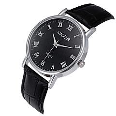 Masculino Relógio de Pulso Quartzo / Couro Banda Legal Casual Preta Marrom