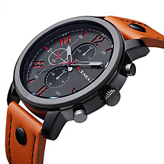 cheap -Men's Wrist Watch Quartz Black / Brown Casual Watch / Analog Charm Fashion - Orange Brown Blue One Year Battery Life / Stainless Steel / Jinli 377