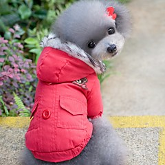お買い得  犬用ウェア&アクセサリー-ネコ 犬 コート パーカー 犬用ウェア ソリッド レッド ブルー コットン コスチューム ペット用 男性用 女性用 防風 保温