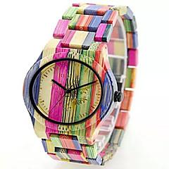 お買い得  レディース腕時計-女性用 スポーツウォッチ ファッションウォッチ リストウォッチ 腕時計 ウッド 日本産クォーツ 多色 ウッド バンド ビンテージ 縞柄 ボヘミアンスタイル チャーム カジュアルスーツ 多色 イエロー ローズ レッド