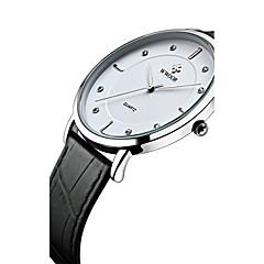 preiswerte Herrenuhren-WWOOR Herrn Armbanduhr Wasserdicht / Cool / Imitation Diamant Echtes Leder Band Modisch / Kleideruhr Schwarz / Edelstahl