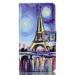 For Pung Kortholder Med stativ Flip Mønster Magnetisk Etui Heldækkende Etui Eiffeltårnet Hårdt Kunstlæder for Sony Andet