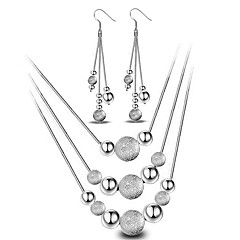 Women's Jewelry Set Drop Earrings Pendant Necklaces Basic Fashion Simple Style Sterling Silver Ball Earrings Necklaces For Wedding Party