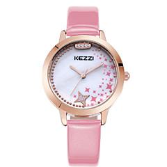 お買い得  大特価腕時計-KEZZI 女性用 カジュアルウォッチ / ファッションウォッチ / リストウォッチ ラインストーン / クール / 模造ダイヤモンド レザー バンド カジュアル ブラック / 白 / ブルー / 1年間 / SSUO 377