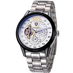 Tevise Férfi Karóra mechanikus Watch Automatikus önfelhúzós Kronográf Vízálló Rozsdamentes acél Zenekar Menő Ezüst