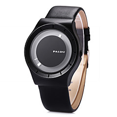 גברים שעוני שמלה שעוני אופנה שעון יד ייחודי Creative צפה קווארץ / עור להקה מגניב שחור לבן שחור
