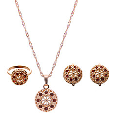 Women's Jewelry Set Luxury Fashion Adorable Wedding Party Rhinestone Rose Gold Plated Imitation Diamond Alloy Rings Earrings Necklaces
