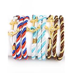Męskie Bransoletki Wrap Pozłacane Nylon sztuczna Diament Stop Modny Kotwica White/Red Black/White Red/Blue Brown-Gold White/Blue Biżuteria
