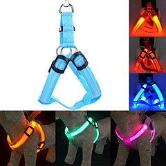 Dog Harness Leash Training Safety Lights Lighting Leash LED Lights Adjustable / Retractable Solid Nylon Yellow Green Blue Pink Dark Red