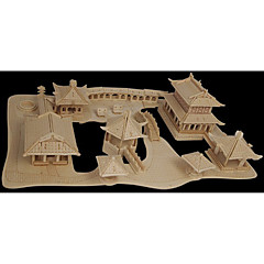 بانوراما الألغاز تركيب خشبي اللبنات DIY اللعب العمارة الصينية 1 خشب كريستال